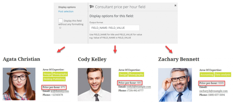 Inserting a field into the Visual Composer design is reflected on the front-end for all posts