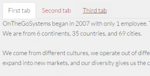 Tabs on the front-end