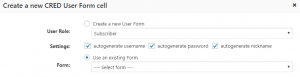 Settings for using an existing CRED User Form