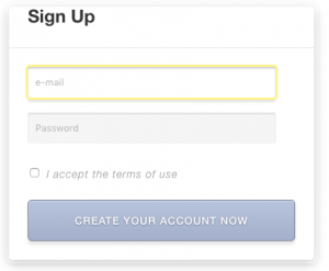 Example of a CRED User Form on the front-end for creating a user account