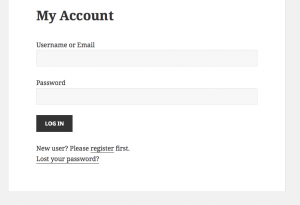 Login form and account management
