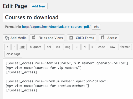 Page with toolset_access shortcodes to display Views based on roles