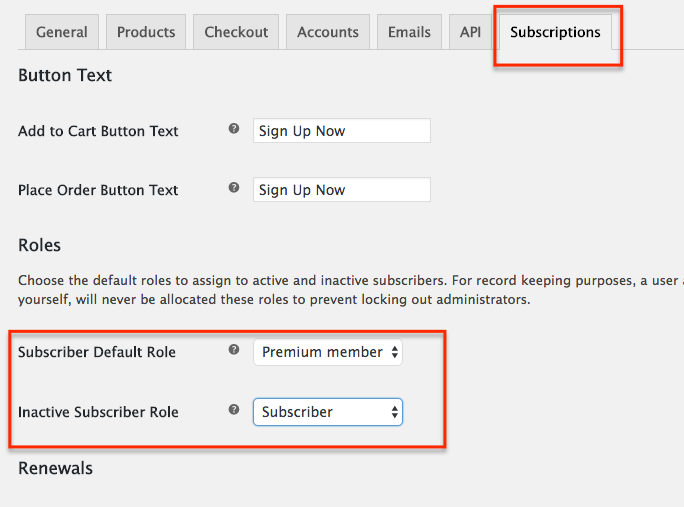 WooCommerce Subscriptions setup