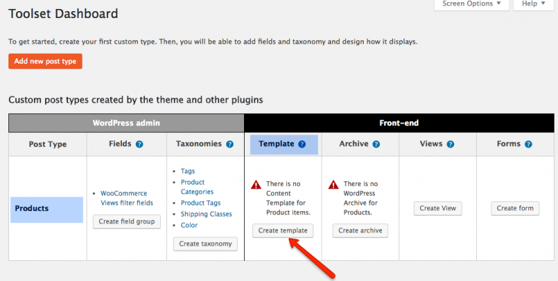 Creating a new Content Template for products from the Toolset Dashboard