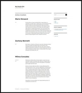 Custom post type archive page as displayed by the Twenty Sixteen theme's default template