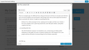 Front-end editing of a page using standard WordPress editor