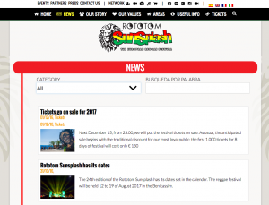 Searchable news archive http://www.rototomsunsplash.com/en/news