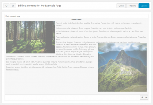 Content layout editing page when you begin