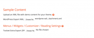 Section for selecting your theme's sample content