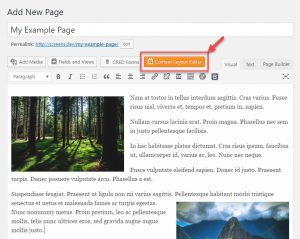 Button for creating a Content layout in a page editor