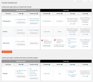 Toolset Dashboard with all the post types in your site