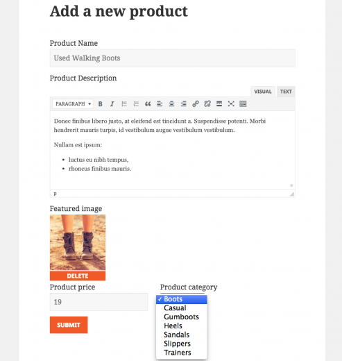 Front-end form for adding a WooCommerce Product - the outcome of this tutorial