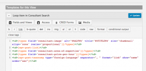 Template displaying the fields for each search results' entry