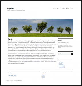 Front-end example of a site built with Layouts and Twenty Sixteen