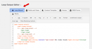 Setting up the search results using the Loop Wizard