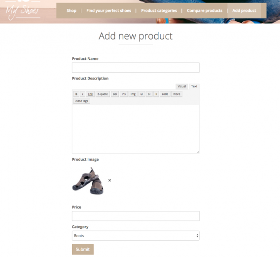 Front-end form for adding a WooCommerce Product – the outcome of this tutorial