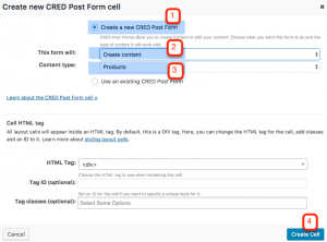 Setting up the CRED form cell