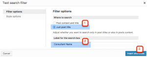 Setting up a filter to search by post title
