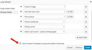 Choose the product fields to output