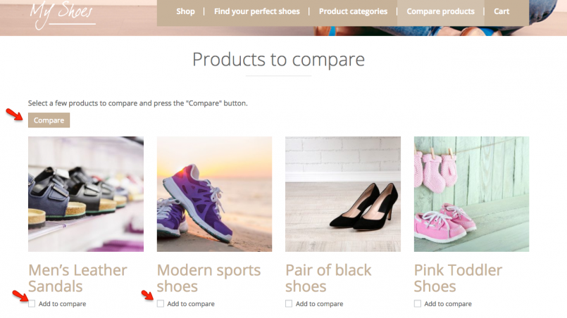 Products to compare page after the changes
