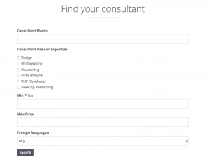 Search form in one column
