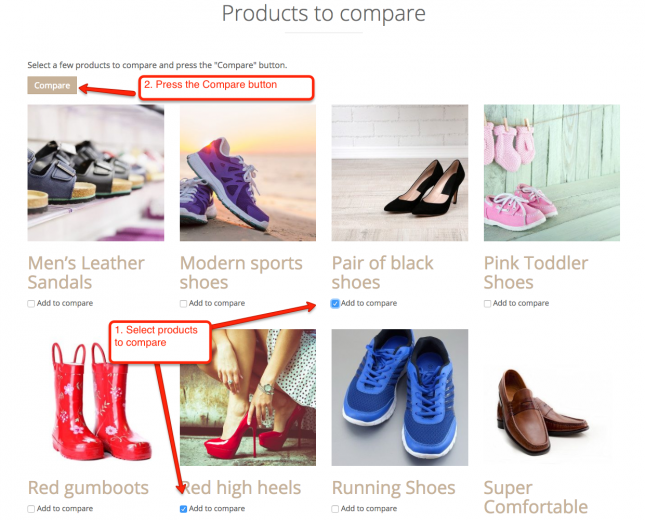 Select products to compare and press the compare button