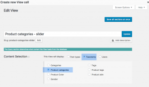 Setting up product categories as your View's base
