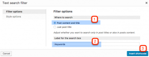 Setting up the text search