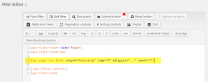 Pagination controls in the Filter Editor