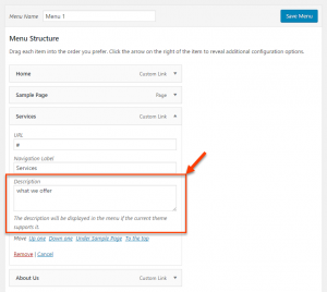 WordPress field for menu item description