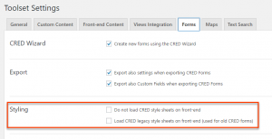 Styling section of the CRED Forms Settings