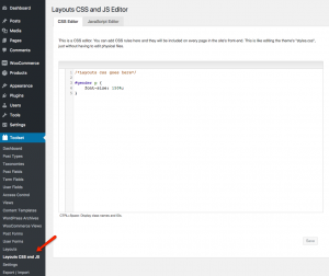 Use the Layouts CSS to define your own classes