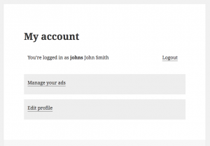 When logged-in, users see their account summary with links that allow them to manage their items and edit their profile