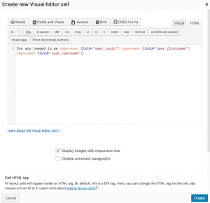 Visual Editor cell