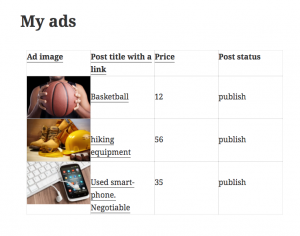 My ads page with a View