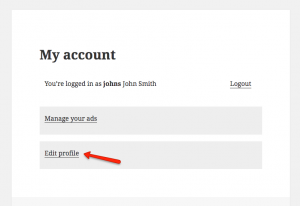 "The ""Edit profile"" page will be available from the ""My account"" page"