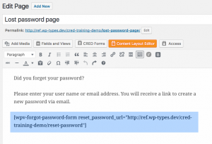 Lost password page