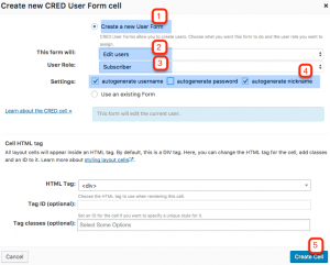 Setting up the User Form cell