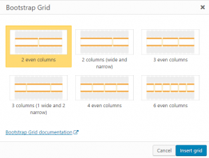 Grid insertion dialog box