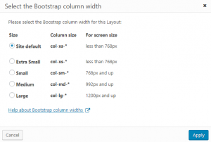 Dialog for selecting a layout's column width