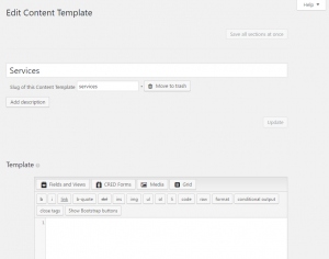 Add new Content template screen
