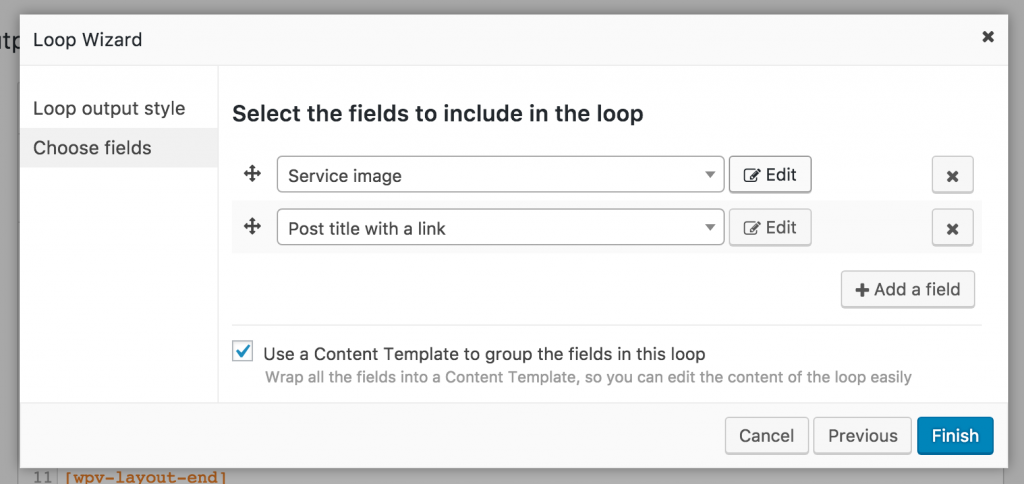 Screenshot of adding Service fields with the Loop Wizard