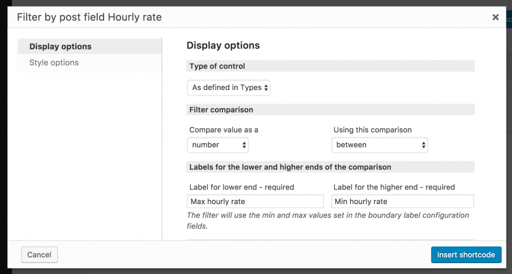 Screenshot of options dialog for Hourly rate filter