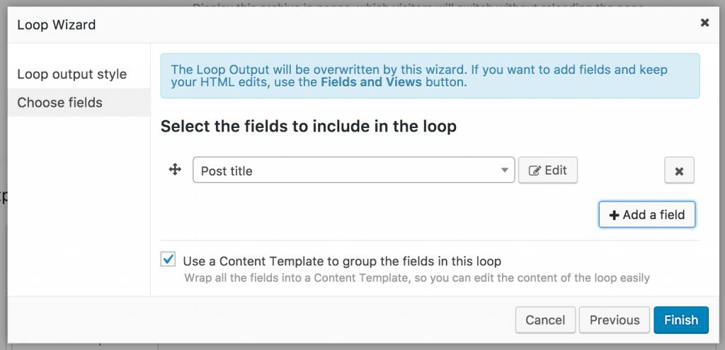 Screenshot of Loop Wizard add field