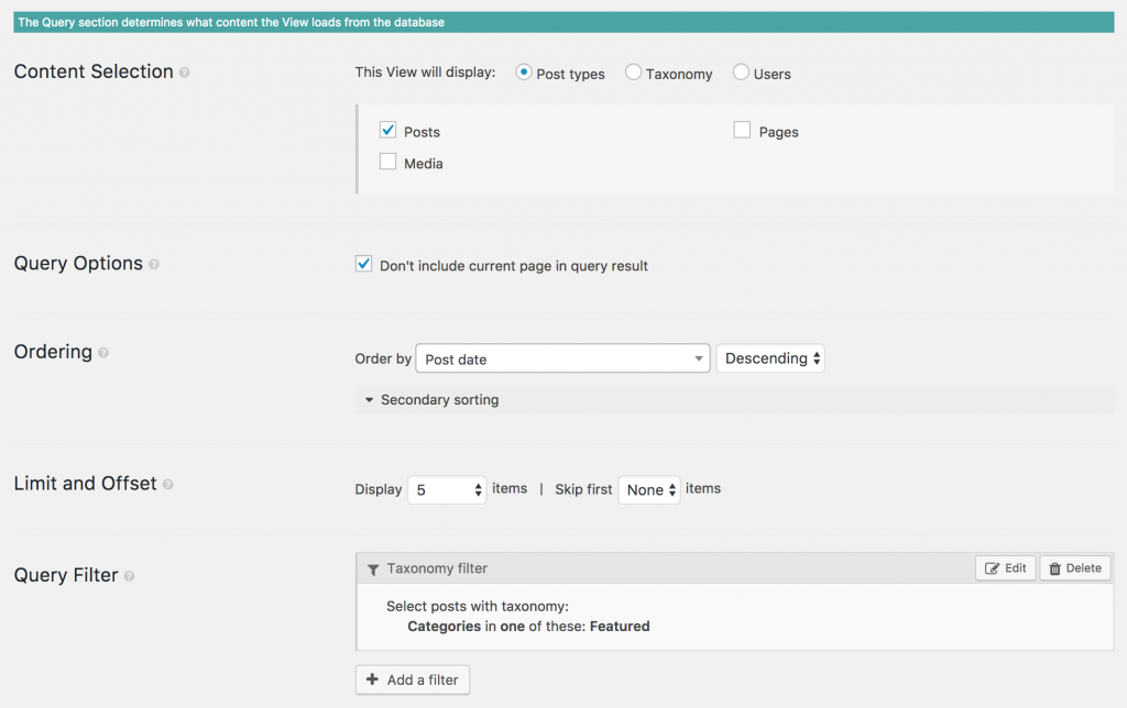 Screenshot of a View Query section