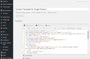 The content template for single product pages
