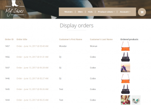 Page with a list of orders including the ordered products