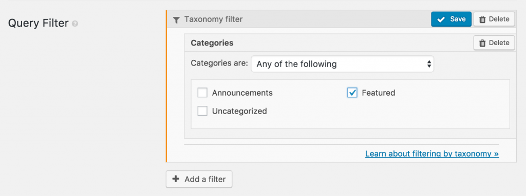 Query filter for featured posts