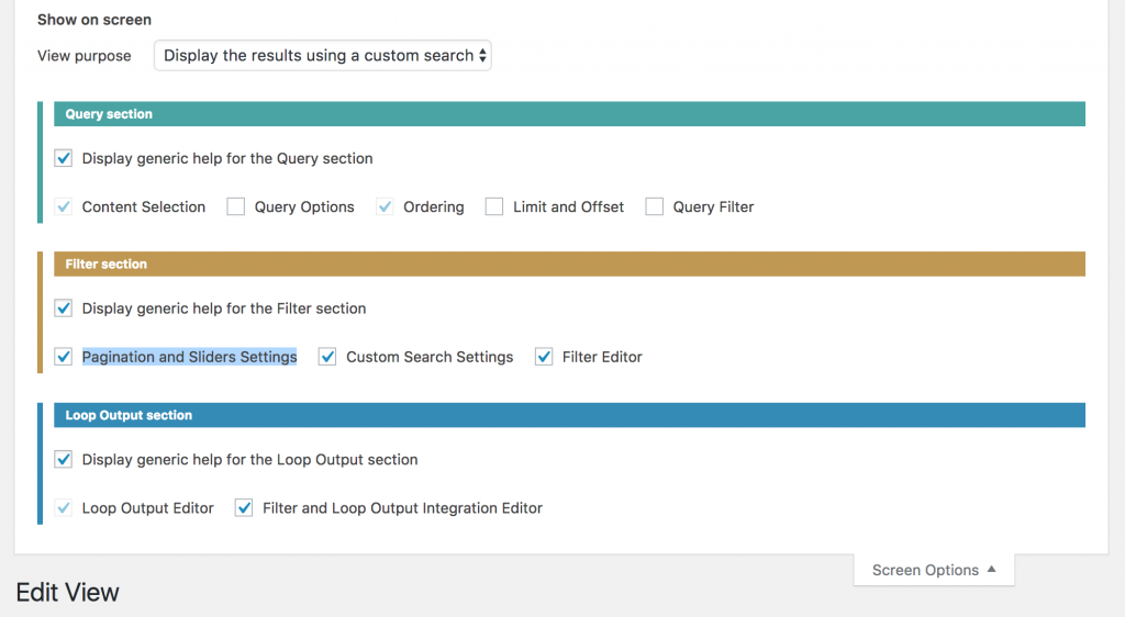 Screen options tab on a View page