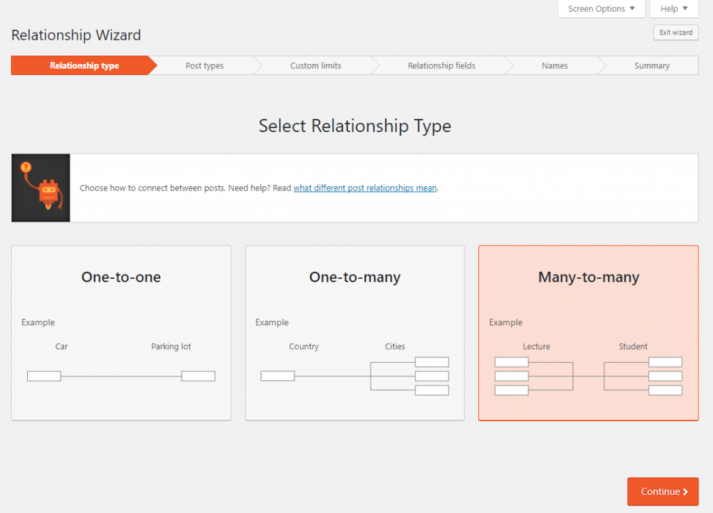 Types wizard for easy creation of post type relationships